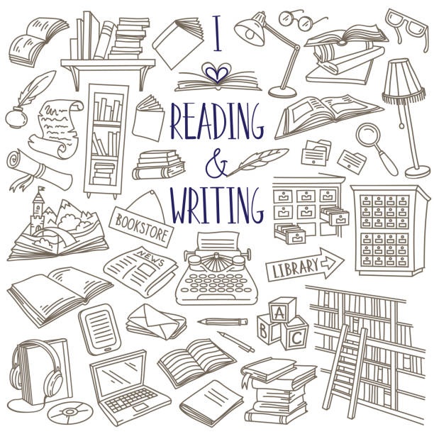 Reading and writing doodle set. Books, magazines, newspapers, letters, piles of books, library catalog, bookshelf, typewriter. Hand drawn vector illustration isolated on white background book drawings stock illustrations