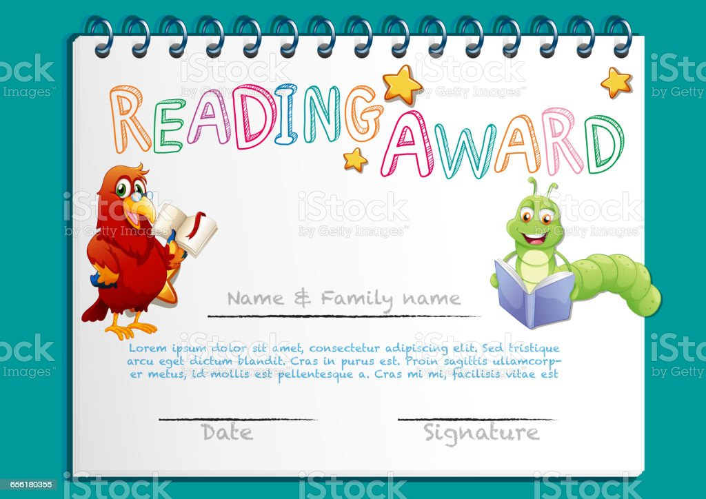 Reading award certificate template with bird reading book stock reading award certificate template with bird reading book royalty free stock vector art yadclub Choice Image