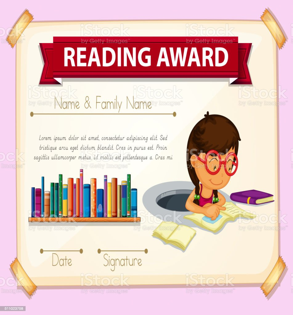 reading award template with girl reading stock vector art more