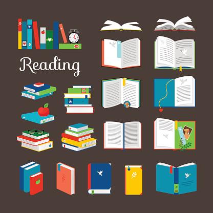 Reading book vector cartoon icons set