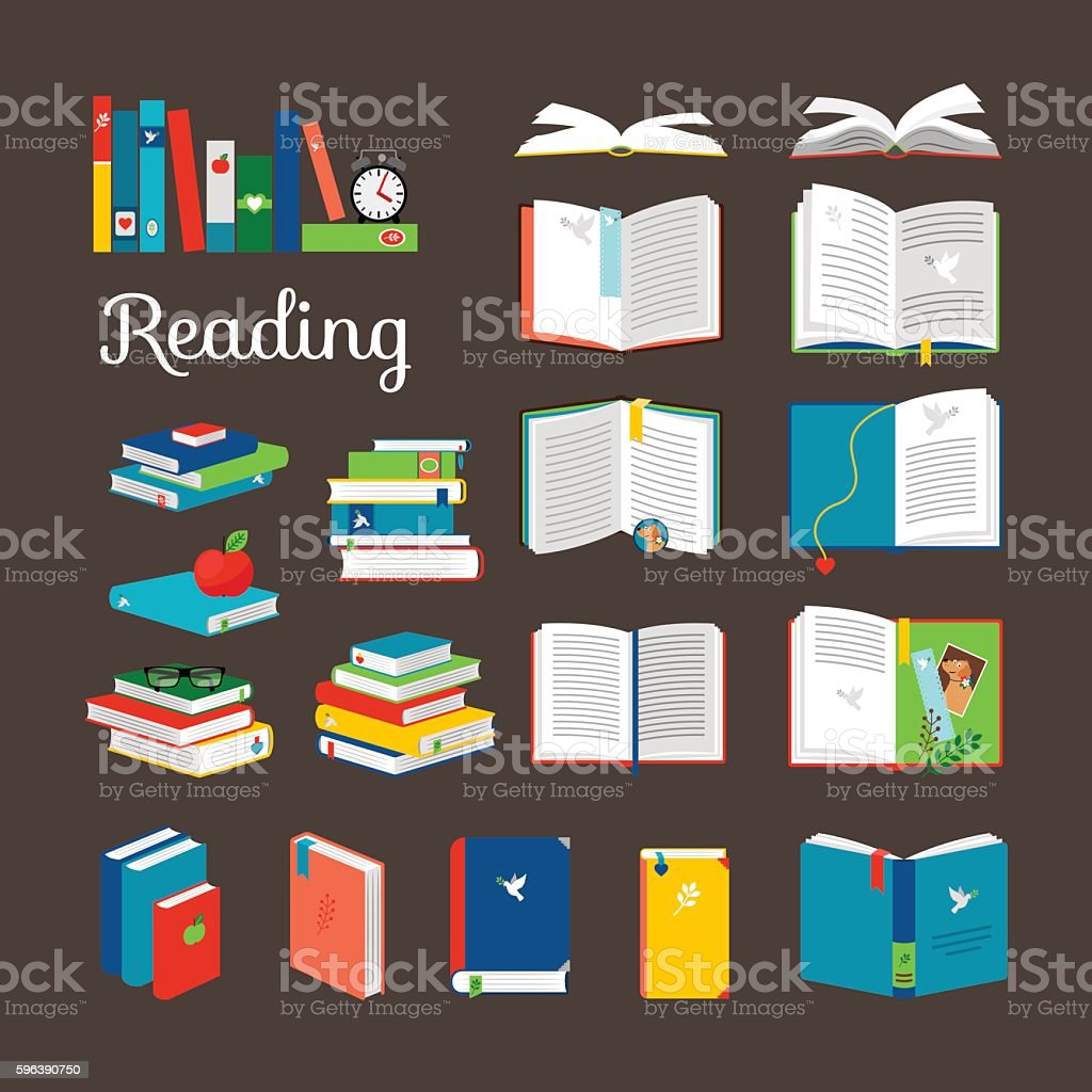 Reading book vector cartoon icons set vector art illustration