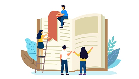 Reading book vector illustration Flat tiny paper book text study persons