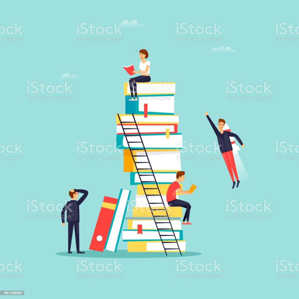 Bücher lesen, Bibliothek. Flaches Design-Vektor-Illustration. – Vektorgrafik