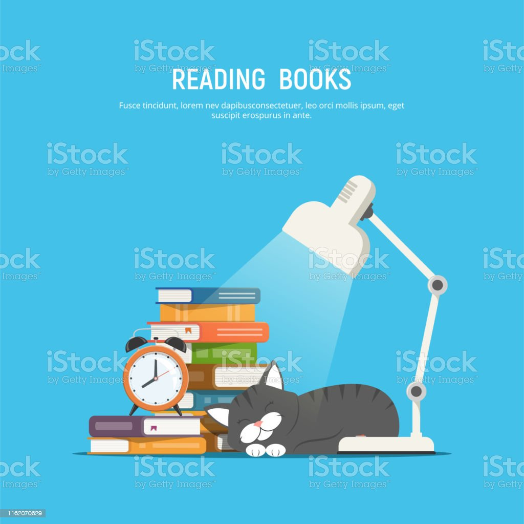 Reading books. Stack of books, table lamp, sleeping cat and alarm...
