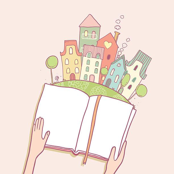 Reading books vector art illustration