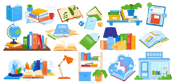 Reading books vector illustration, cartoon flat collection with opened or closed notebook, textbook encyclopedia for school home education