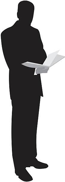 reading businessman vector art illustration