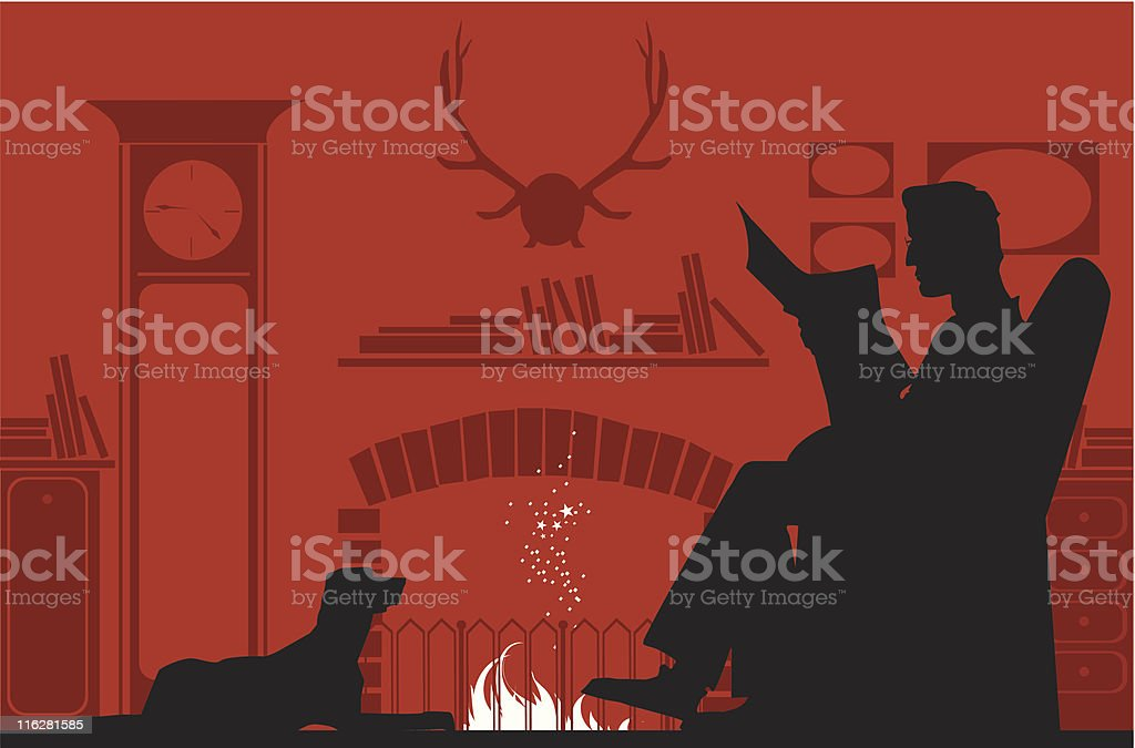 Reading by the fireplace royalty-free stock vector art