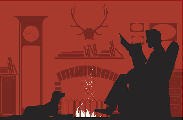 reading by the fireplace - old man sitting chair silhouettes stock illustrations, clip art, cartoons, & icons