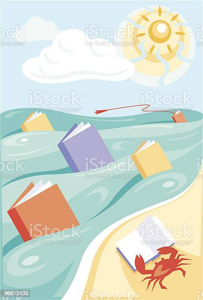 Чтение На Морском Побережье — стоковая векторная графика и другие изображения на тему Книга