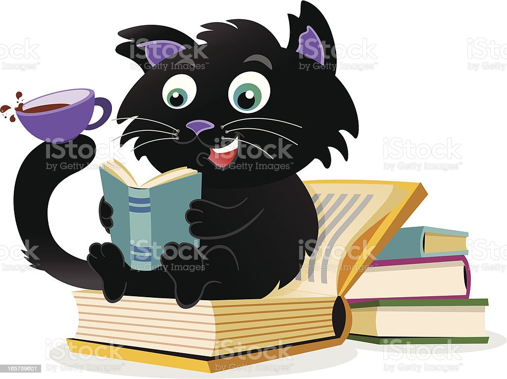Reading Cat royalty-free reading cat stock vector art & more images of animal
