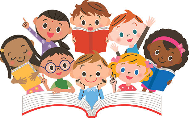 stockillustraties, clipart, cartoons en iconen met reading children - prentenboek
