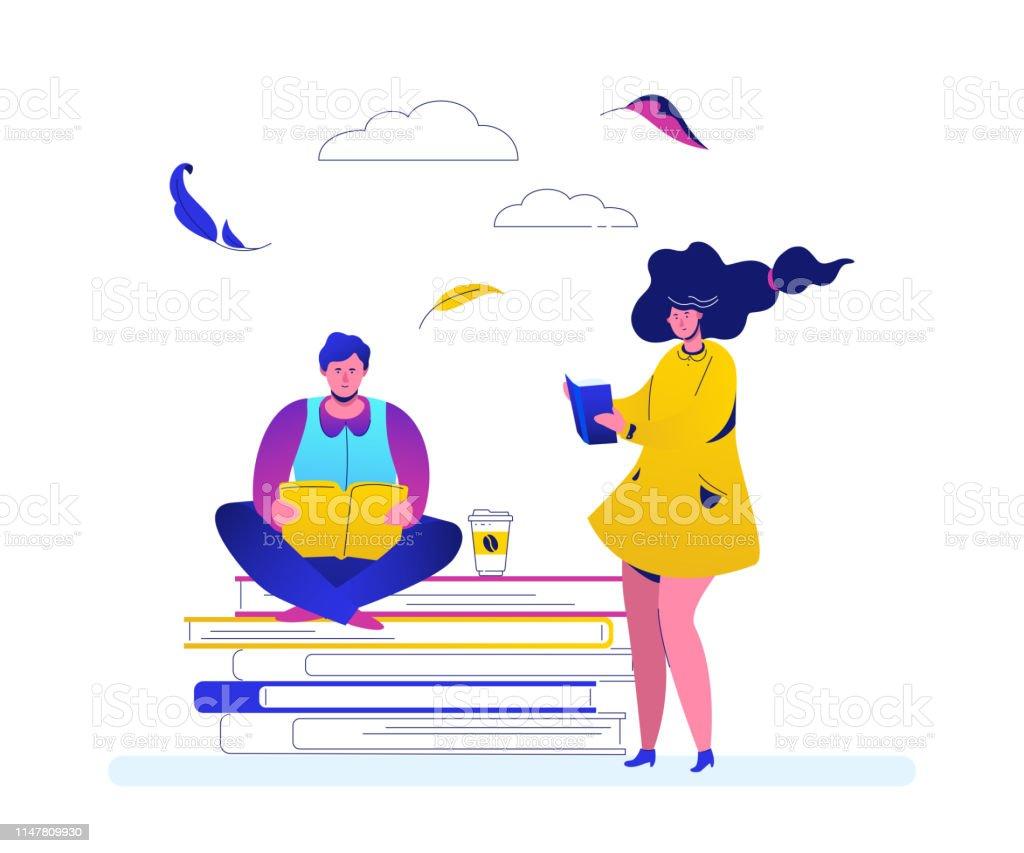 Concept de lecture-Design plat style illustration colorée - Illustration vectorielle