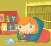 Little girl enjoying herself at the reading corner. Zip contains AI, PDF and hi-res Jpeg.