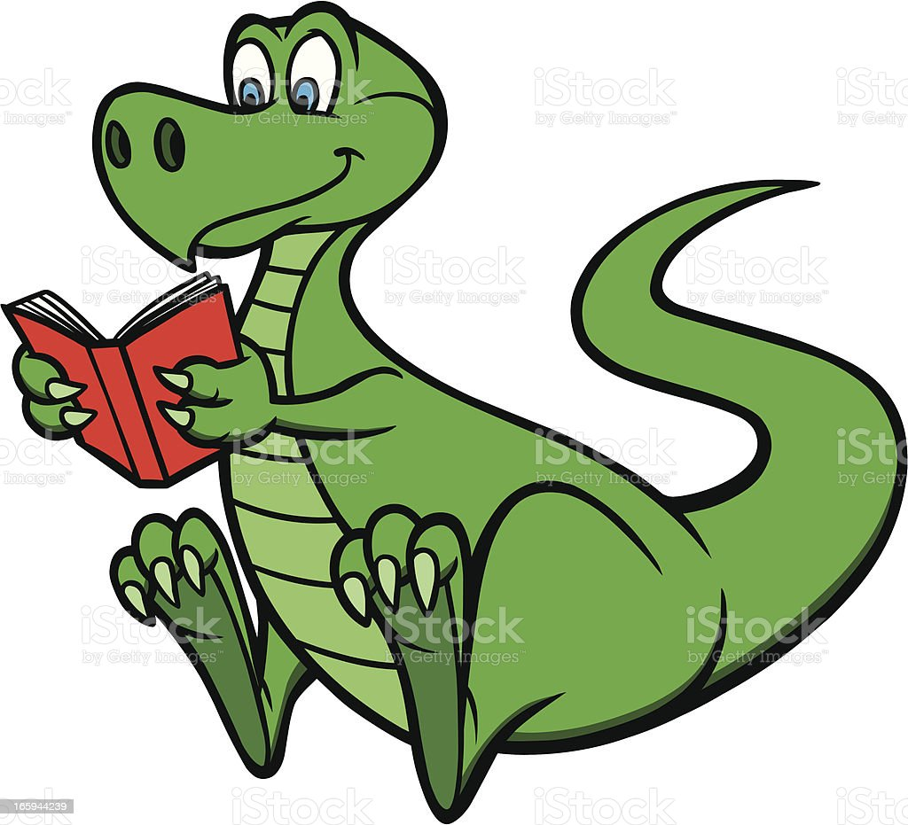 royalty free cartoon dinosaur reading clip art vector images rh istockphoto com Dinosaur Math Worksheets Dinosaur Clip Art