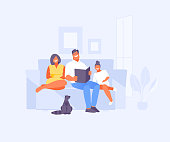 Dad, mom and daughter read a book together. Happy family moments. Vector illustration