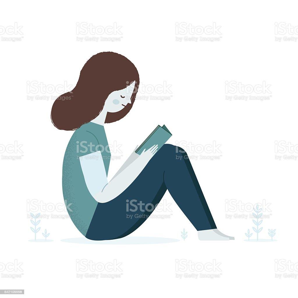 Reading Girl vector art illustration
