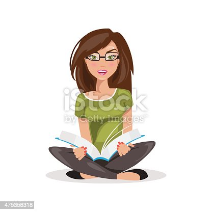 Illustrations of a beautiful girl sitting and reading a book