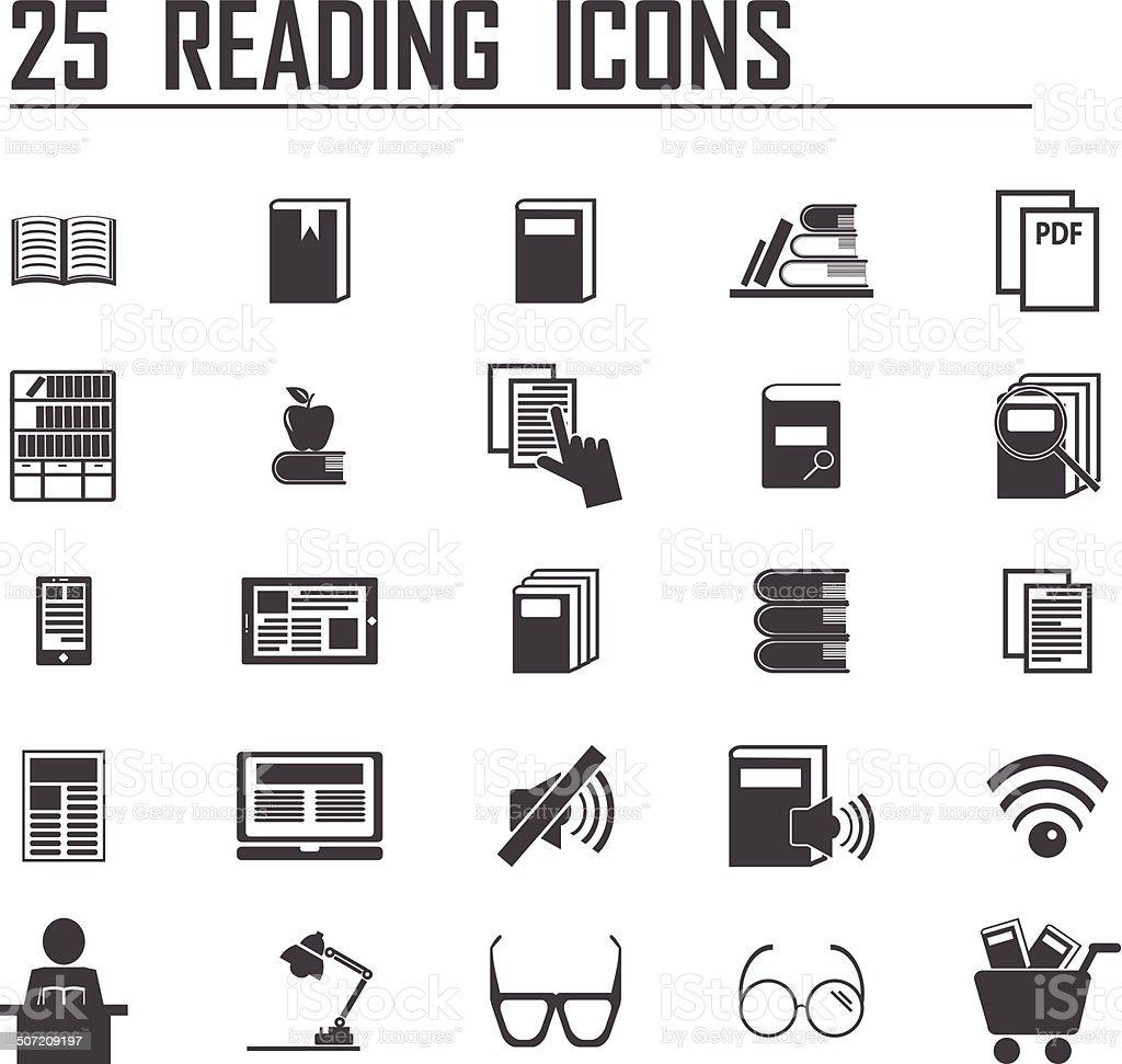 25 reading icons vector art illustration