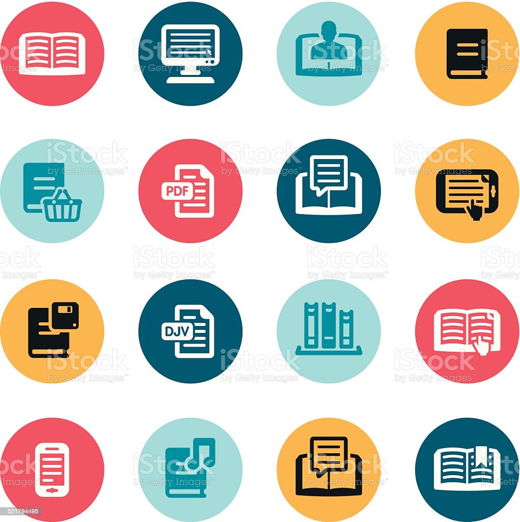 Reading Icons vector art illustration
