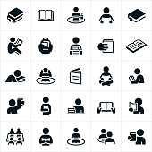 An icon set of students or people reading books. The icons also include open books and stacks of books.