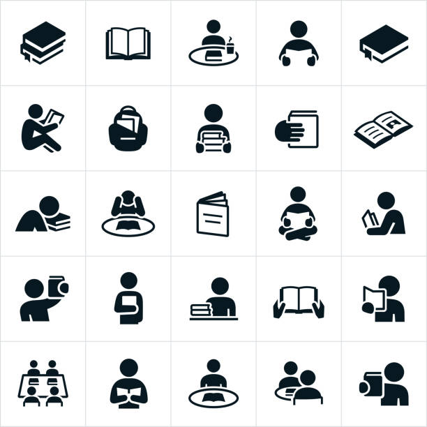 Reading Icons An icon set of students or people reading books. The icons also include open books and stacks of books. students stock illustrations