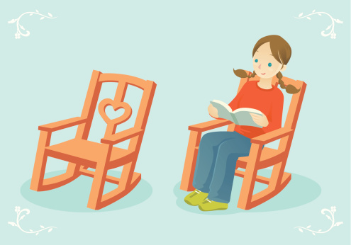 reading in a rocking chair