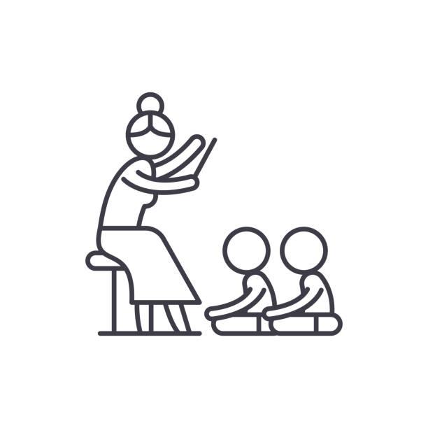 Reading in kindergarten line icon concept. Reading in kindergarten vector linear illustration, symbol, sign Reading in kindergarten line icon concept. Reading in kindergarten vector linear illustration, sign, symbol preschool teacher stock illustrations