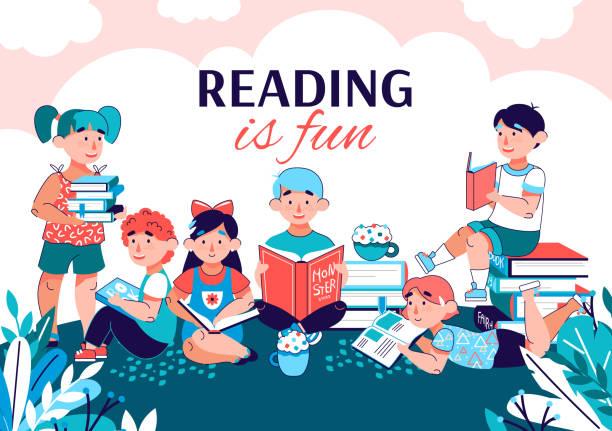 stockillustraties, clipart, cartoons en iconen met lezen is leuk spandoek met kinderen die boeken lezen in het zomerpark. - mini amusementpark
