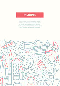 Reading - vector plain line design brochure poster, flyer presentation template, A4 size layout