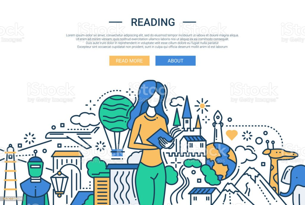 Reading - line design website banner vector art illustration
