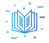 Reading outline style icon design with decorations and gradient color. Line vector icon illustration for modern infographics, mobile designs and web banners.
