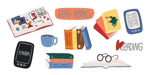 Reading lovers cute set. Various paper and electronic books, fairy tales or myths, glasses, sticker and lettering, art or travel book, hot chocolate drink with little marshmallows in mug.