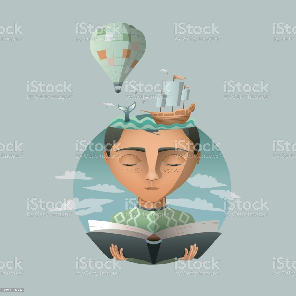 Reading makes you travel vector art illustration