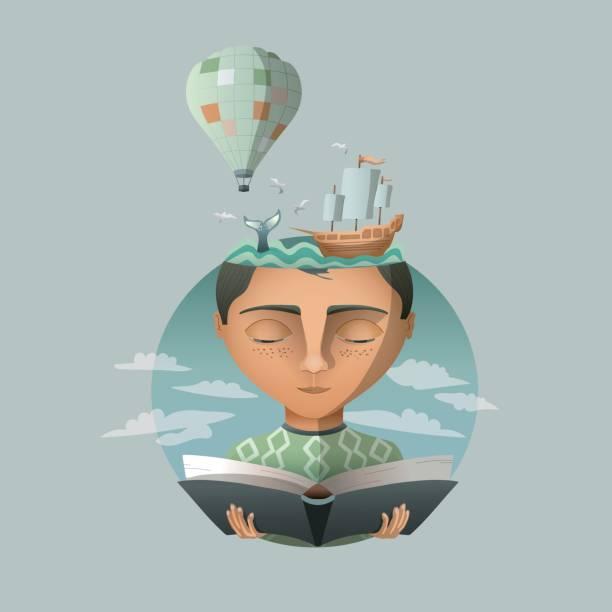 reading makes you travel - imagination stock illustrations
