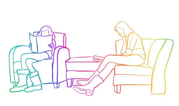 stockillustraties, clipart, cartoons en iconen met het lezen van moeder en dochter rainbow - woman home magazine