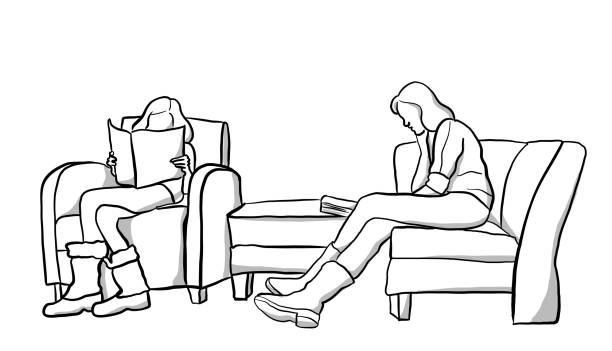 stockillustraties, clipart, cartoons en iconen met het lezen van moeder en dochter - woman home magazine