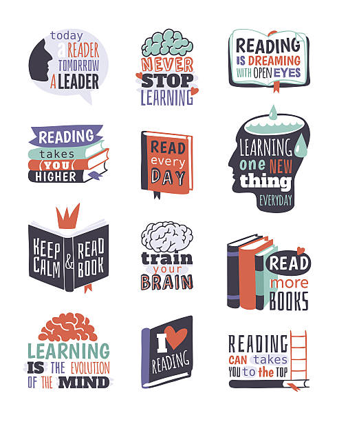 ilustraciones, imágenes clip art, dibujos animados e iconos de stock de reading motivation badge vector illustration. - biblioteca