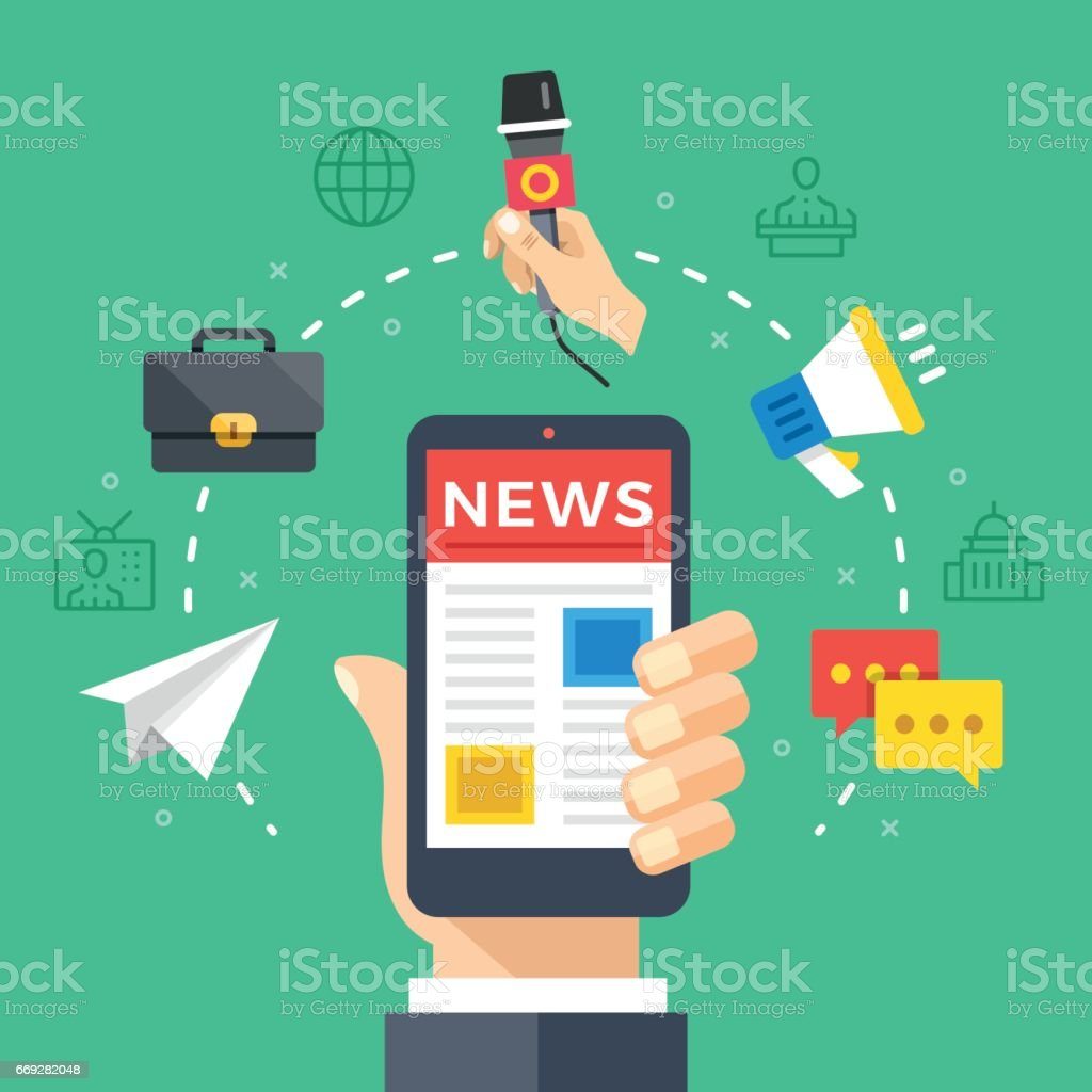 Reading news on mobile phone. Hand holding smartphone with newspaper, news website. Modern flat design graphic elements, thin line icons set. Vector illustration vector art illustration