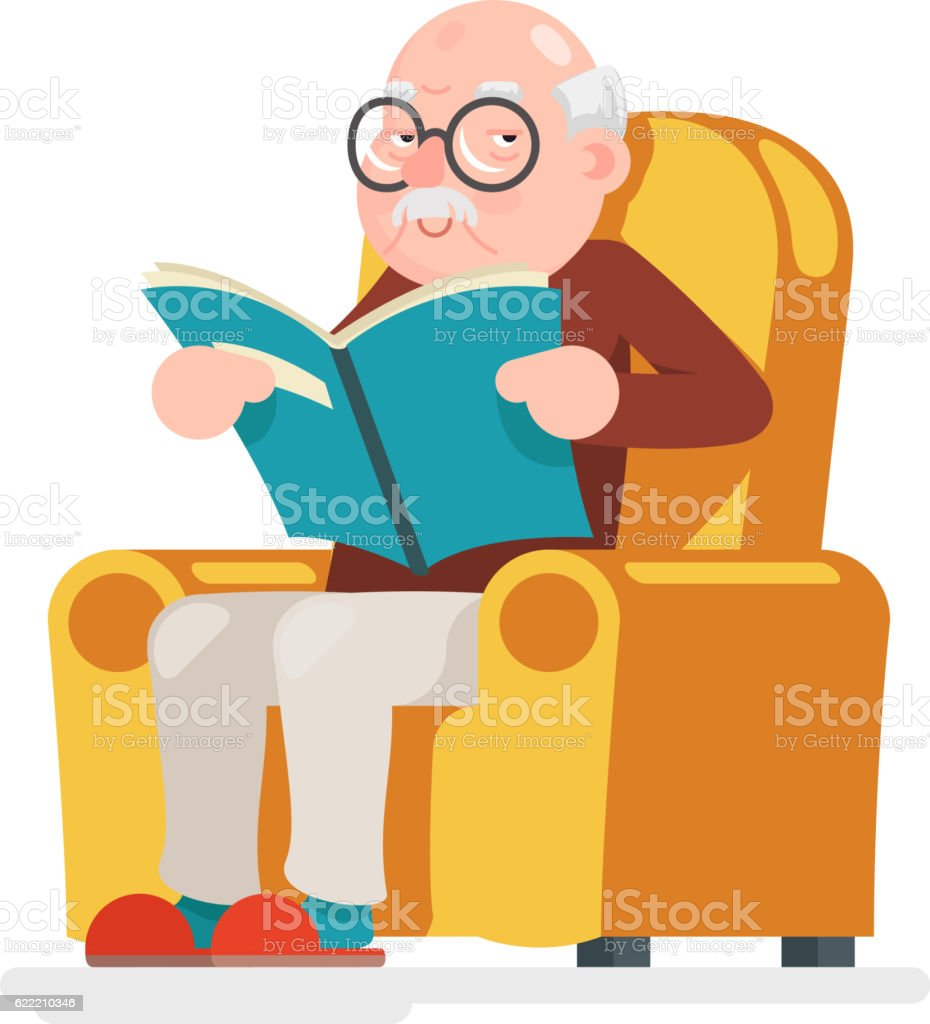Reading Old Man Character Sit Adult Icon Cartoon Design Vector - ilustración de arte vectorial