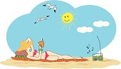 Young woman with straw hat reading a book while sunbathing on a sandy beach. File available in Illustrator .eps version 8, Illustrator CS .ai and .eps. Also included a hi-res RGB jpg.