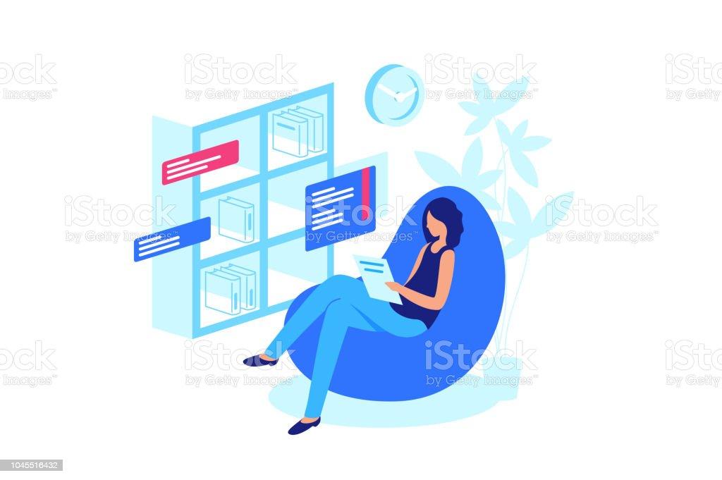 Online-Buch, Verzicht auf Papier-Bücher zu lesen. – Vektorgrafik