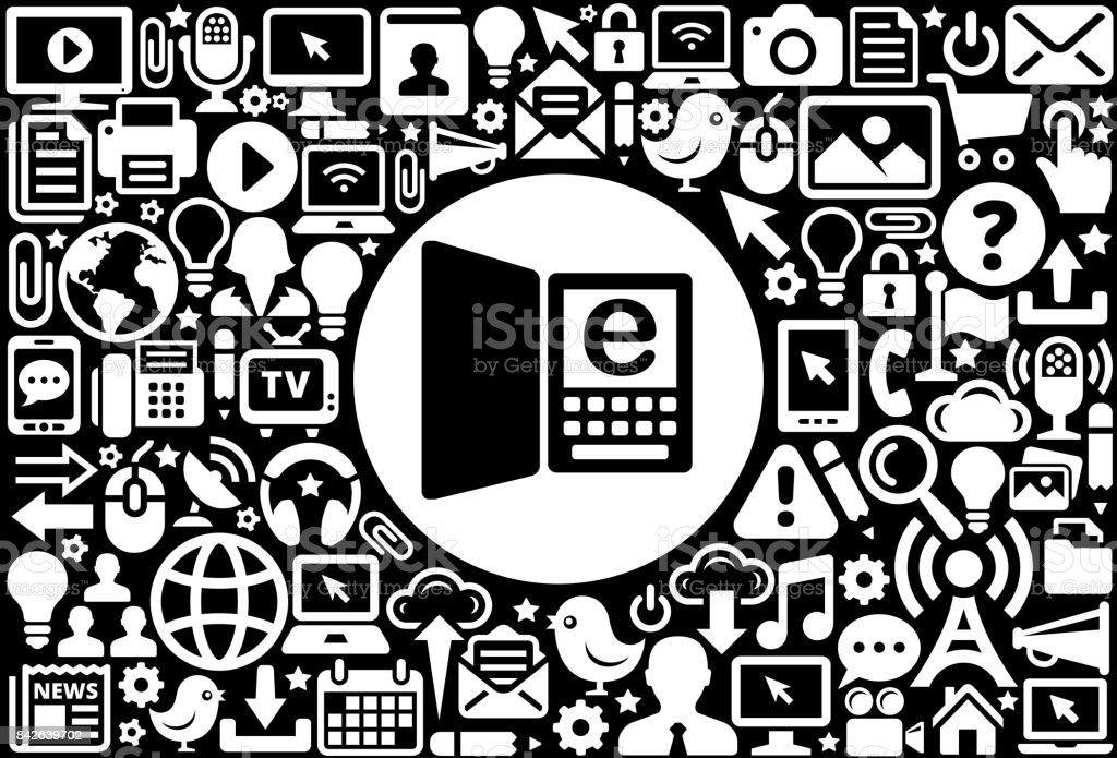 Reading Online Icon Black And White Internet Technology