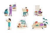 Set of reading people. Flat cartoon vector illustration isolated on white background.