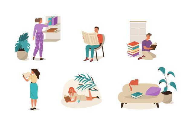 reading people Set of reading people. Flat cartoon vector illustration isolated on white background. reading stock illustrations