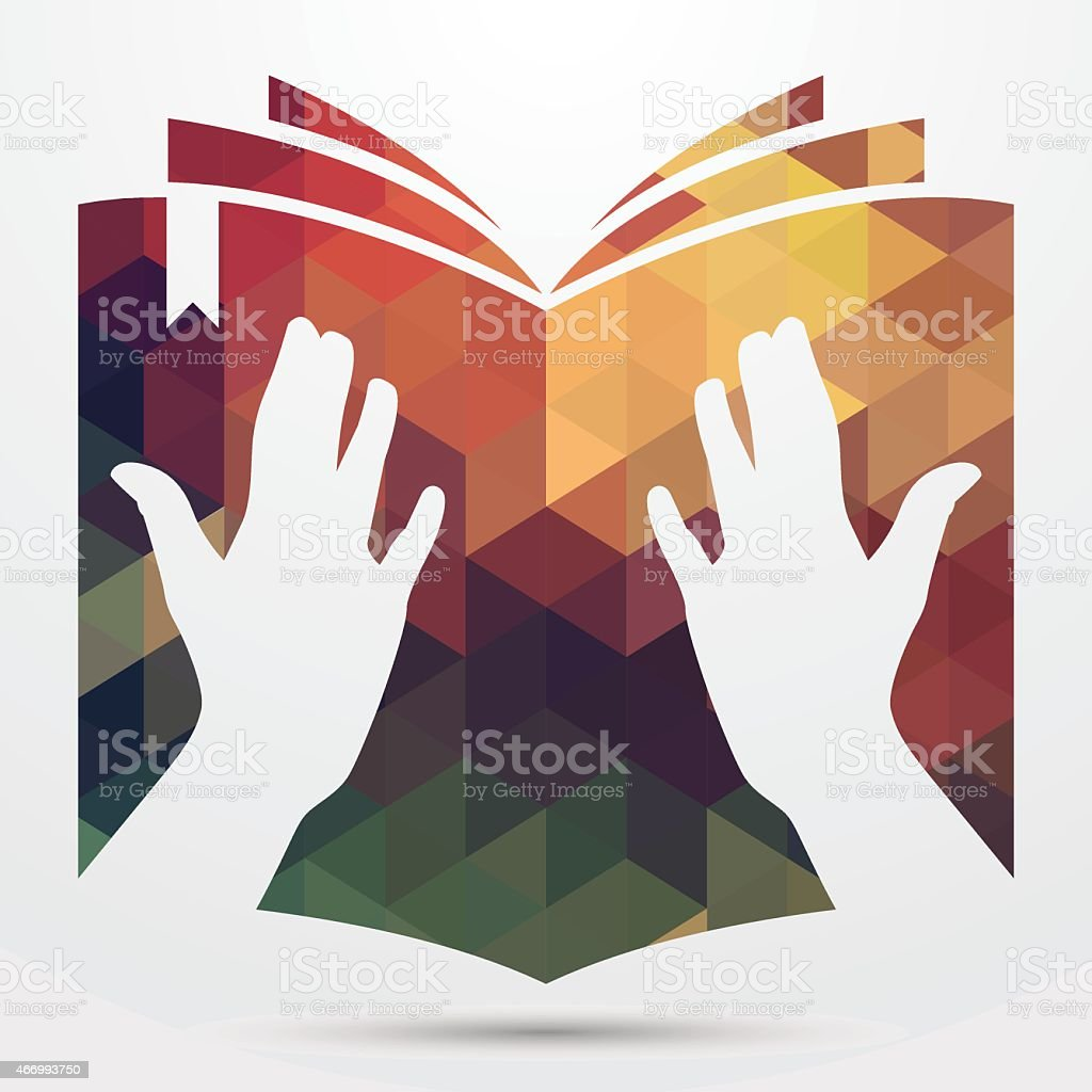 Reading retro book icon vector art illustration