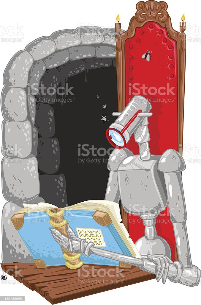 Reading robot learning computer code (vector) vector art illustration