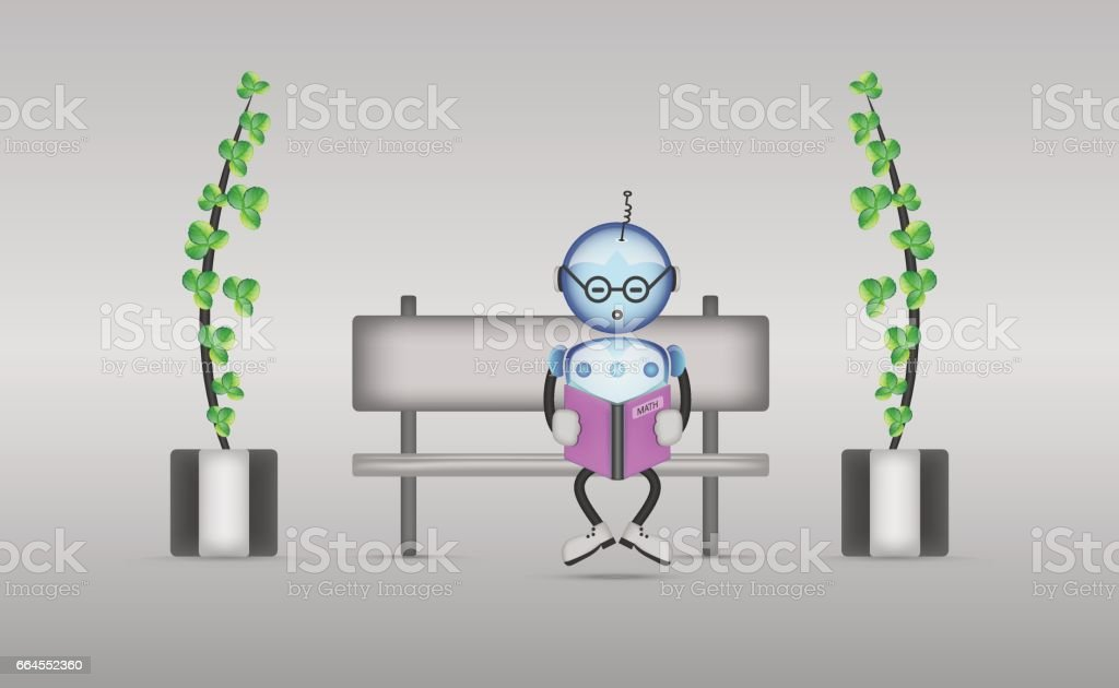 Reading robot royalty-free reading robot stock vector art & more images of bench