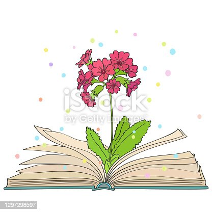 istock Reading. Spring. The magic flower bloomed in the book 1297298597