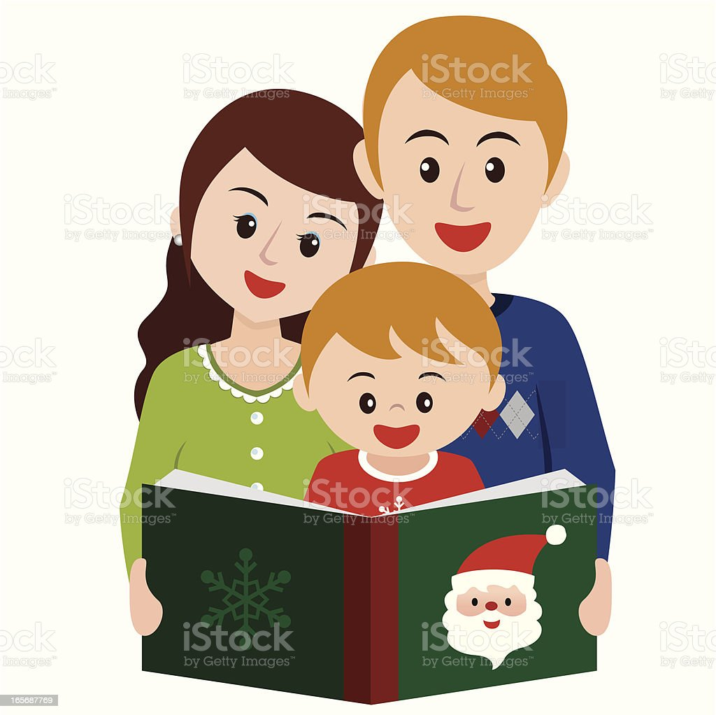 reading story book in christmas time with family stock vector art rh istockphoto com Bedtime Clip Art Reading Together Clip Art